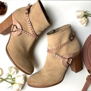 Suede Ankle Booties by Alberto Fermani, Size 38.5